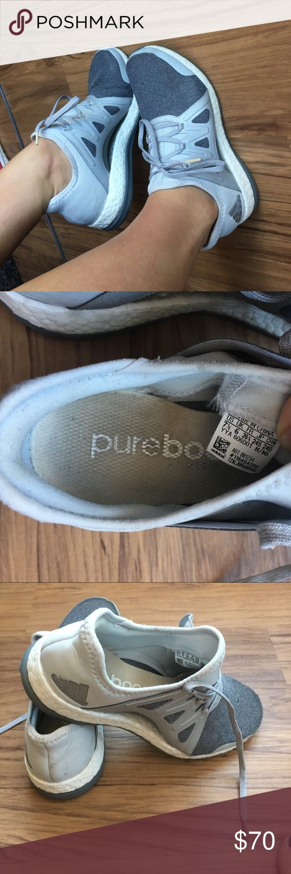 Adidas pure boost running shoe Adidas pure boost light weight running shoes: dark and light grays with white adidas Shoes Sneakers