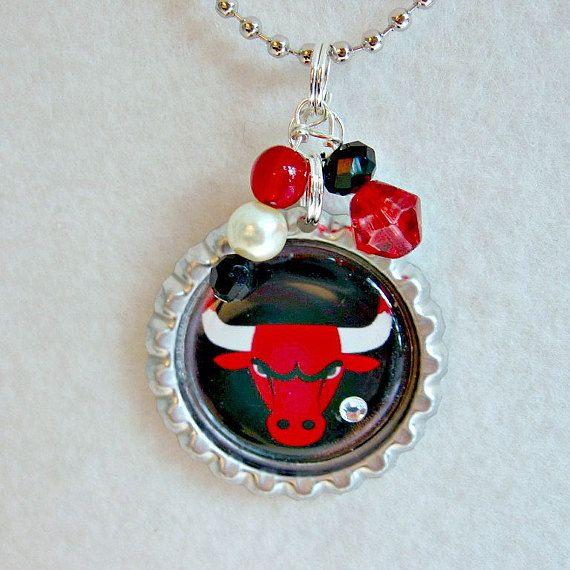 NBA Chicago Bulls Basketball Pendant by Sports Jewelry Studio.  $10.  etsy.com/shop/sportsjewelrystudio