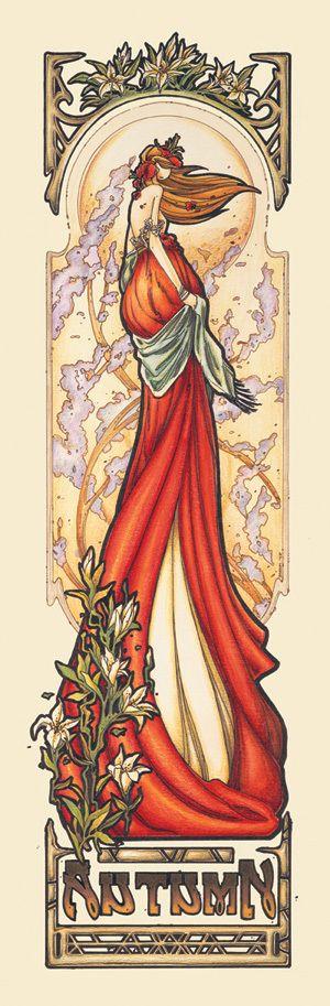 """Mucha Style - """" #BrandiMilne"""" """" #Autumn"""" Illustration in style of """"Alphonse Mucha"""""""
