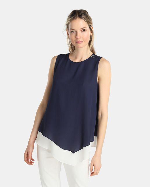 EL CORTE INGLÉS - YERA | Blusa sin mangas en color azul marino, con escote redondo y bajo asimétrico con vivo.