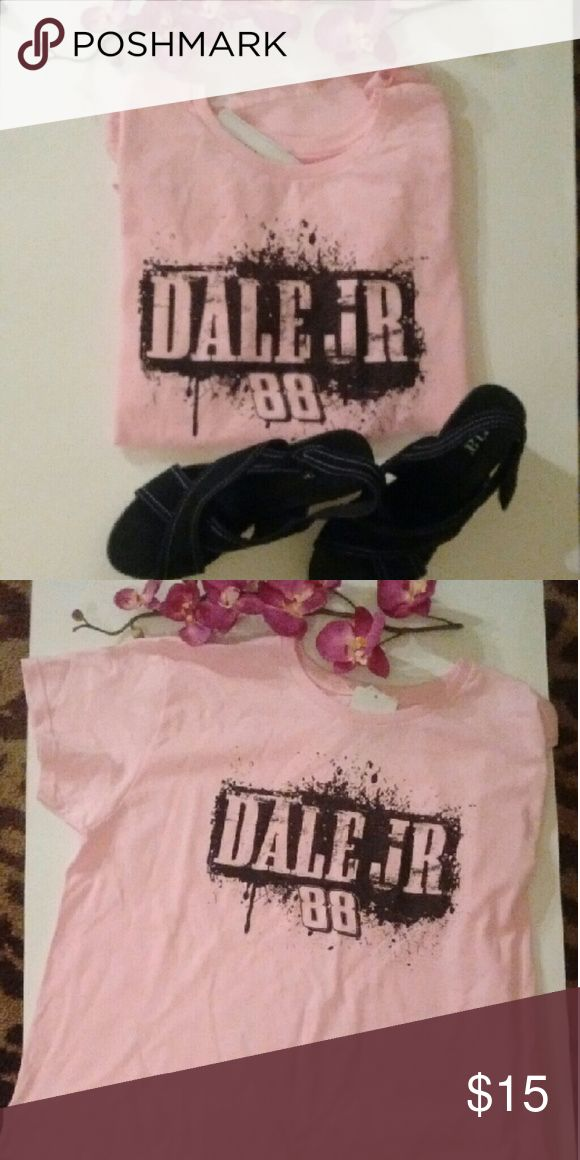 PINK Dale Jr NASCAR T-shirt with Black Lettering Hey, hey, hey all Dale Earnhardt Jr. fans!!! This is the t-shirt for you to show support for your favorite racer. Official NASCAR apparel. Pink with black lettering. NASCAR  Tops Tees - Short Sleeve