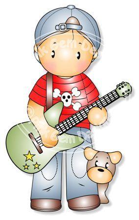 Andy de digital Digi con el sello de la guitarra por PinkGemDesigns