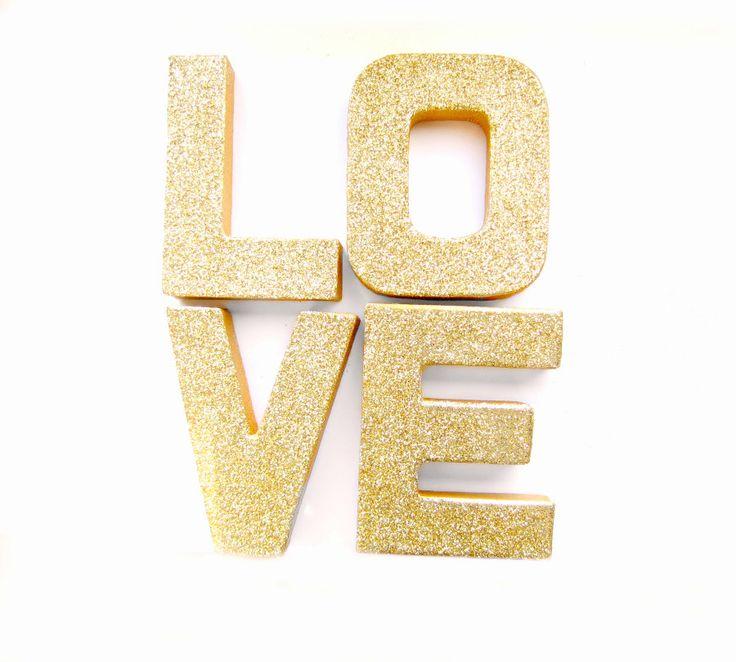 Gold Glitter Love Letters  Glitter Letters Custom by Pelemele, £12.00