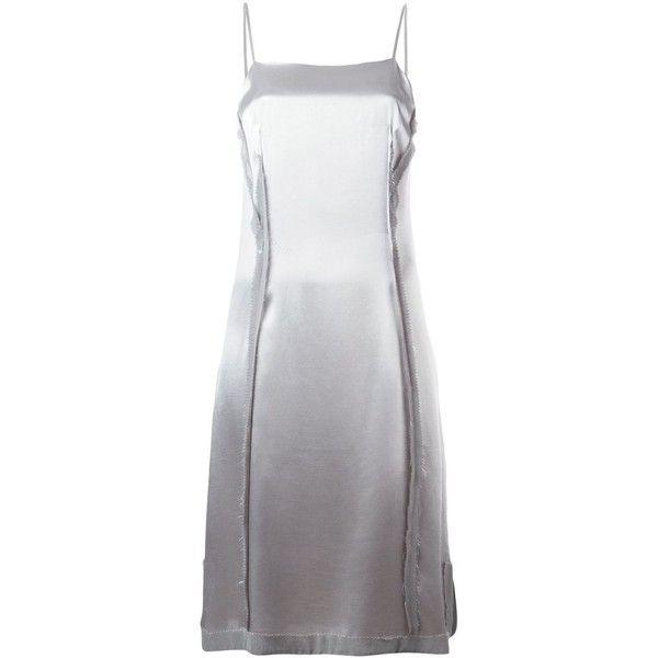 Maison Margiela Vintage White Label Slip Dress ($808) ❤ liked on Polyvore featuring dresses, metallic, back zipper dress, spaghetti strap slip dress, vintage knee length dresses, vintage slip dress and side slit dress