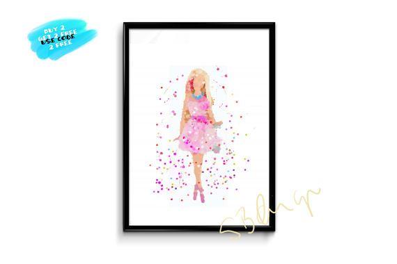 Barbie Watercolor Prints Wall Decor Kids Room Decor Nursery