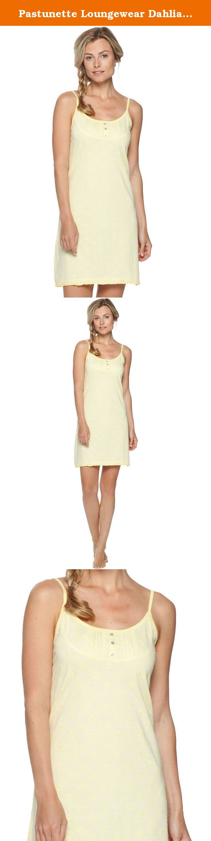 Pastunette Loungewear Dahlia Light Yellow Cotton Spaghetti Nightdress 90cm 1051-356-0-300 8 US/10 UK. Gorgeous and feminine cotton spaghetti strap nightdress in lovely yellow shade featuring subtle floral print. 90cm in length. Cute button detailing on neckline. Elegant lace on bottom edging.
