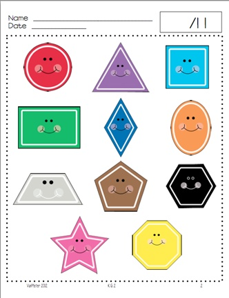 Here's a Common Core mini-assessment for Kindergarten K.G.2 - Correctly name shapes regardless of their orientations or overall size.