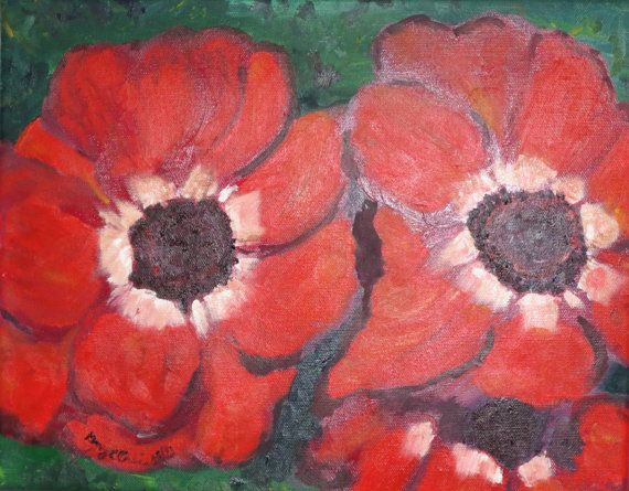 Anemone blank note card of original oil by MAGNETSetcGLPWORKS