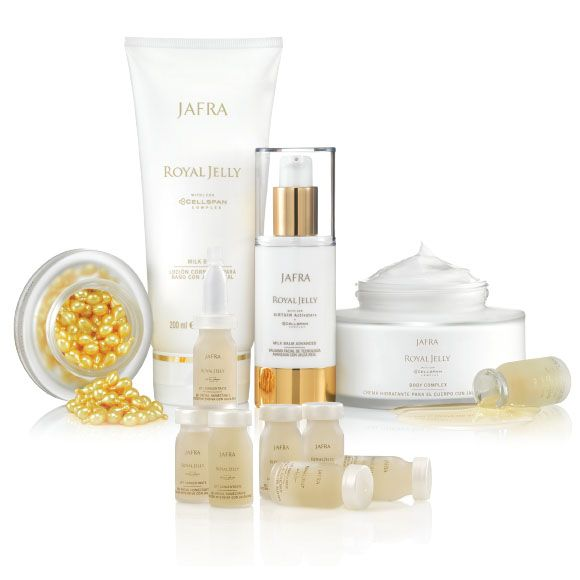 Royal Jelly Collection - JAFRA Prolong skin vitality and maintain a youthful look with the power of Royal Jelly  The Royal Jelly Collection Includes: Royal Jelly Eye Concentrate Capsules | 60 Capsules Royal Jelly Milk Bath | 6.7 fl. oz. Royal Jelly Milk Balm Advanced | 1 fl. oz. Royal Jelly Lift Concentrate | 7 vials, .23 fl. oz. Royal Jelly Body Complex | 6.7 fl. oz.