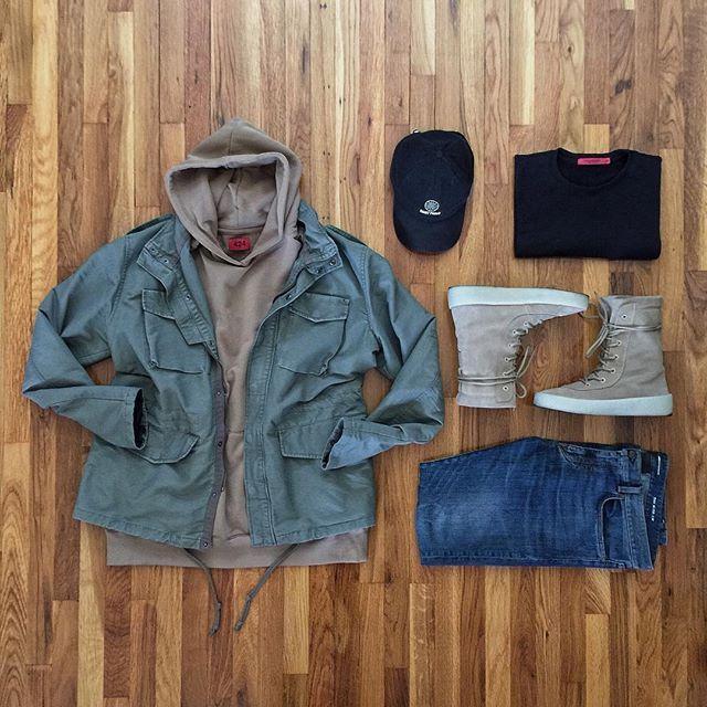 @hm jacket @424inc hoody @threadworkshop shirt @ysl denim @yeezyseason2 boots @dennistodisco / @outfitgrid