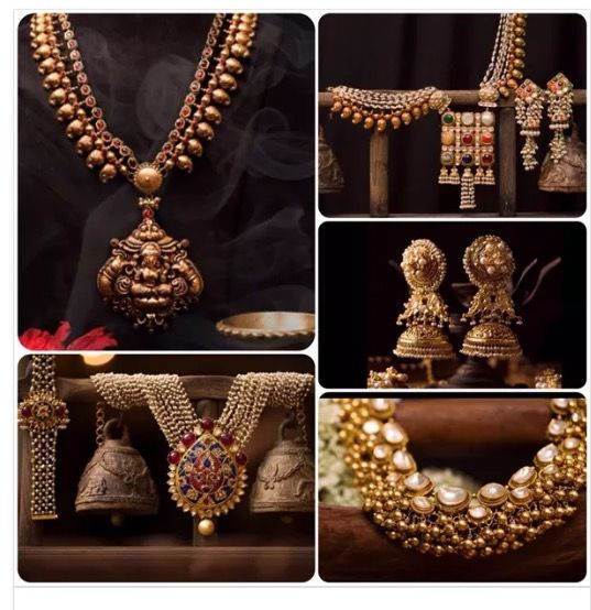 Beautiful traditional gold jewellery #polki #temple jewellery #navratna #pearls #gold #antique #jhumka