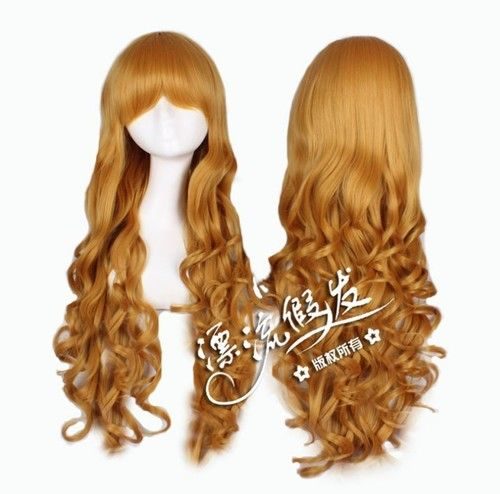 "NEW 31"" Long Curly Charm Lolita Mixed Straight Curly Anime Cosplay Gold Wigs 