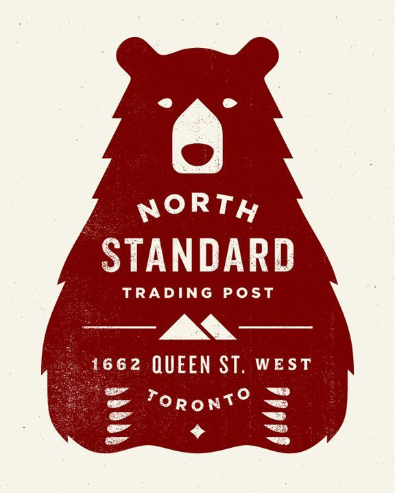 bear north Vector block colour shape with text as the negative space.