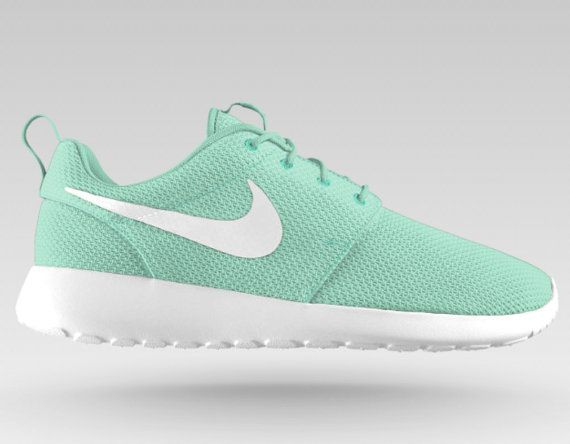 Nike Roshe Run Mint/White running shoes with by EmeliePaigeDesigns