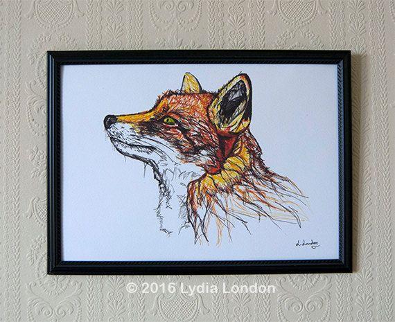A4 Fox Fine Art Digital Print by LydiaLondonArtCanada on Etsy
