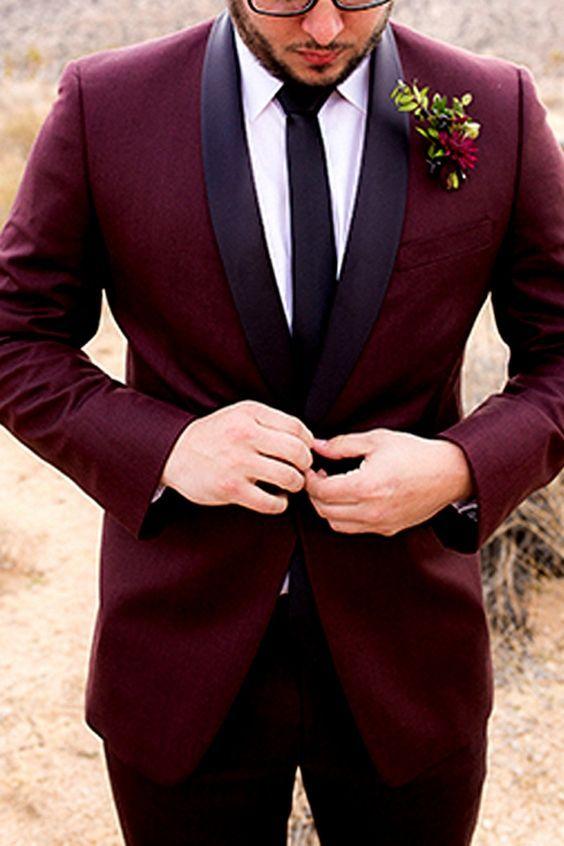 Purple and Burgundy Groom Suits / http://www.himisspuff.com/groom-fashion-inspiration-45-groom-suit-ideas/2/