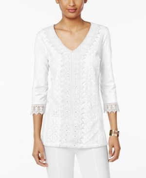 Jm Collection Petite Cotton Crochet Lace Top, Only at Macy's - White P/XL