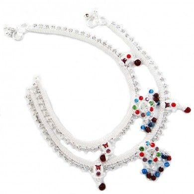 Silver Tone Multicolor CZ Stone Anklet Ethnic Wedding Ankle Bracelet Jewellry