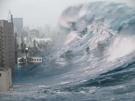 Tsunami - wave, destruction, city, tsunami