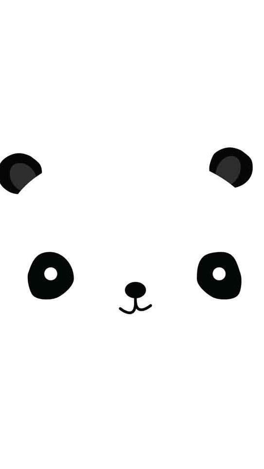 Minimal Black white panda face iphone wallpaper phone background lock screen