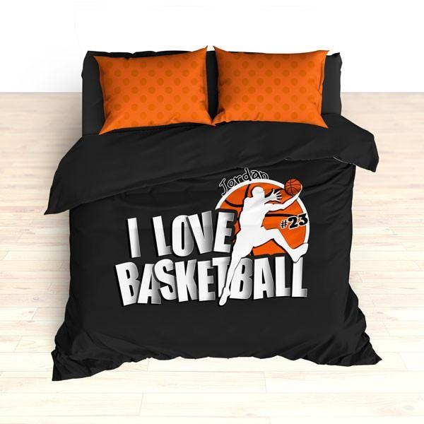 Personalized Basketball Bedding I Love Dots Custom Duvet Or Comforter Sets