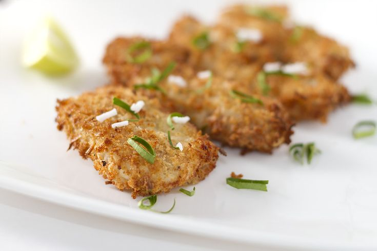 Coconut Lime Crispy Chicken made using Kaffir lime leaves, coated with fresh coconut and breadcrumb, best made in an airfryer.