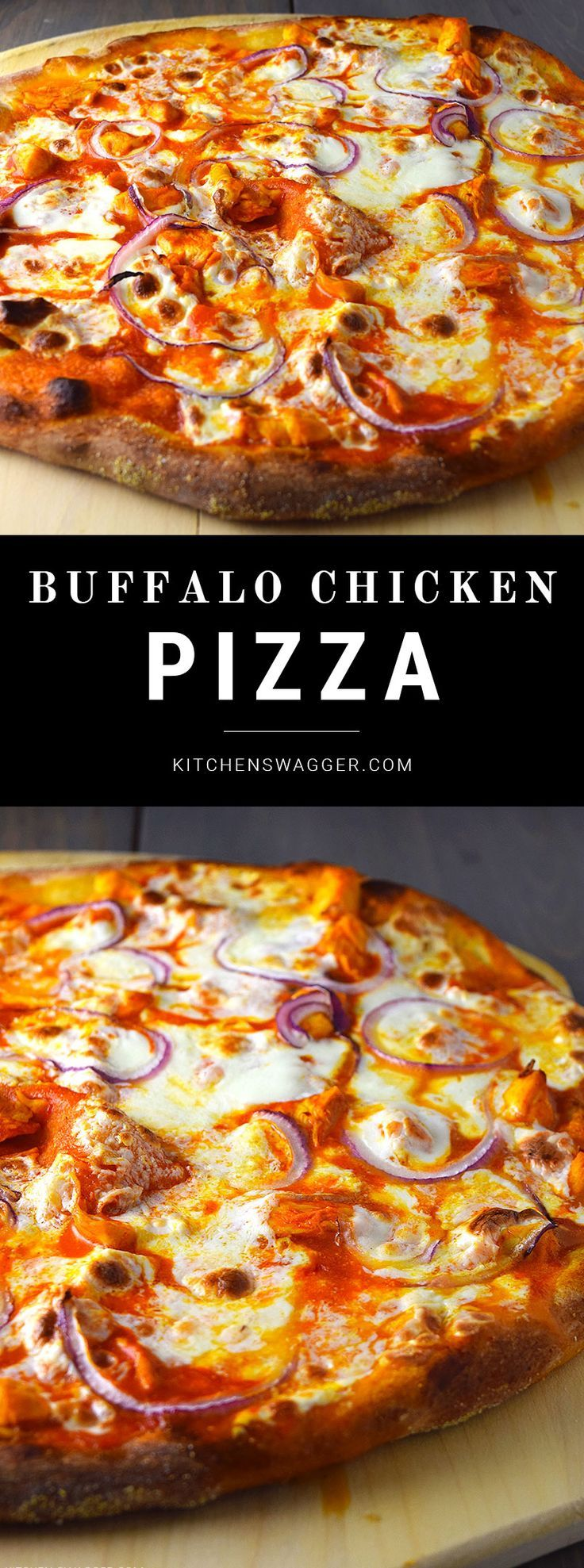 Buffalo chicken pizza made with chicken, red onions, and fresh mozzarella cheese.