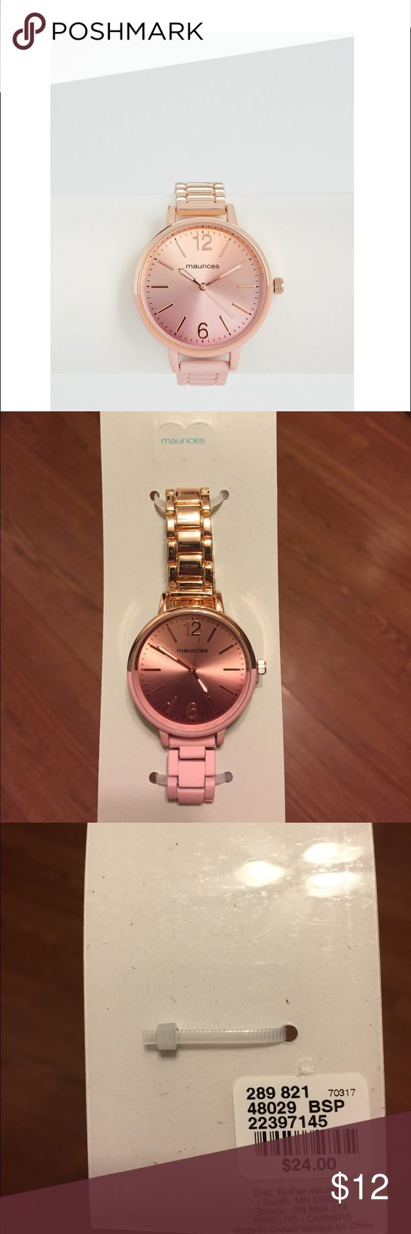 Maurices dip dyed boyfriend watch in pink Maurices dip dyed boyfriend watch in pink. New with tags. Still has plastic protection and hasn't been started. Maurices Jewelry