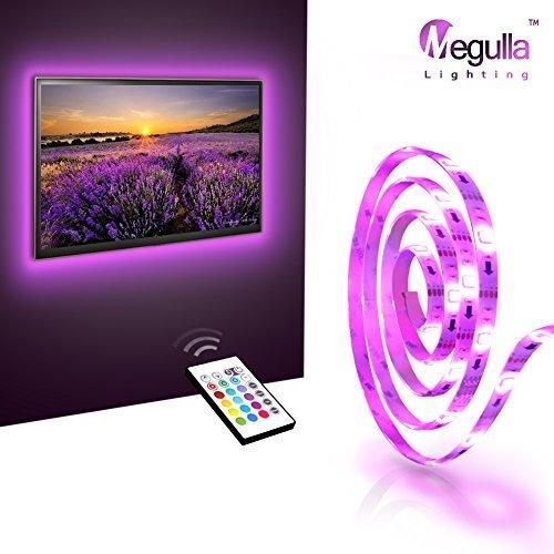 Megulla Bias TV Lighting Kit Accent/Ambient TV Lighting Precut USB LED RGB Strip Lights TV Backlight Kit with Remote for TV PC Home Theater and Desktop Monitor (WhiteUniversal)