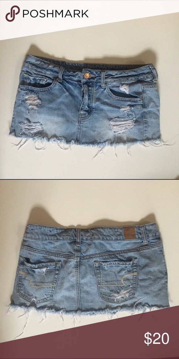 American Eagle Outfitters Distressed Jean Skirt Mini skirt, having a 90's moment this is perfect for you lol American Eagle Outfitters Skirts Mini