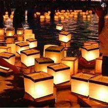 Плавающей Воды Площадь Фонарь Бумажные Фонарики Желая Фонарь плавающие Свечи Для Празднования Дня Рождения свадебные Украшения(China (Mainland))