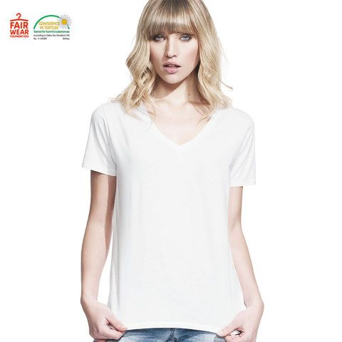 Lux | sweatshop free, fair trade, quality plain, ladies v-neck boyfriend tshirt. 100% combed cotton #fashion