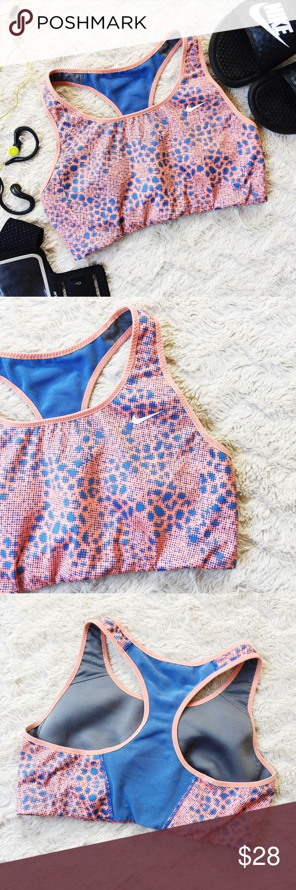 ✔️Nike dri-fit Patterned Sports Bra ✔️ Nike dri-fit Patterned Sports Bra ✔️Size Medium ✔️Coral pink, Periwinkle blue, and grey ✔️Worn only a number times, in wonderful shape ✔️Don't wear this one enough ✔️No trades, thank you!!! Nike Intimates & Sleepwear