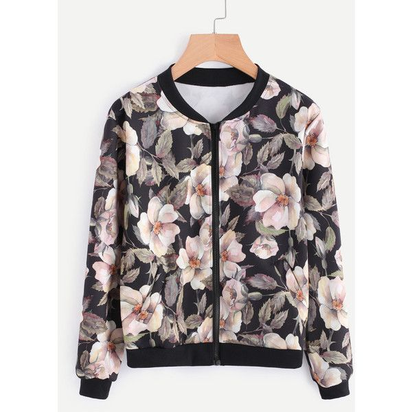 Floral Print Random Bomber jacket (89 EGP) ❤ liked on Polyvore featuring outerwear, jackets, flower print bomber jacket, bomber jackets, flower print jacket, floral jacket and bomber style jacket
