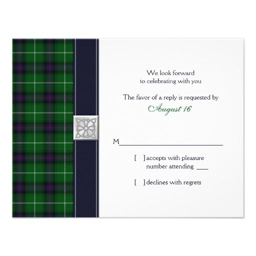 Customizable Tartan Celtic Wedding Reply Card Personalized Invite.  Oh my word - what are the odds that someone would have Gareth's exact tartan? This is MacDonald of the Isles Hunting (Modern)!