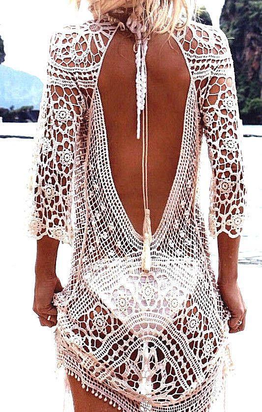 848b675f9dbfc Häkel Sommerkleid in weiß rückenfrei Strandkleid im Boho Hippie Ibiza Style
