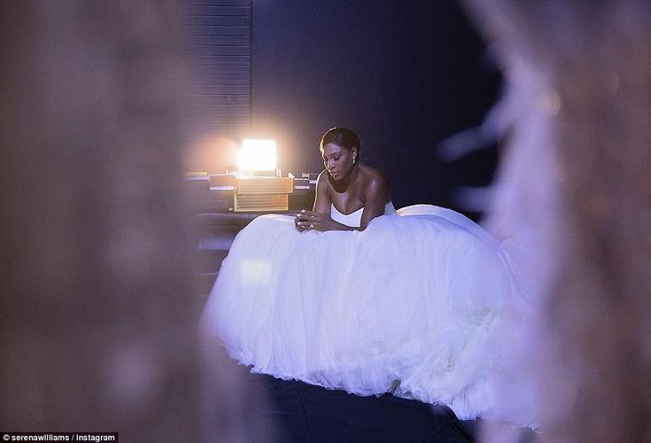 Stunning: Serena Williams posted this photograph of her stunning wedding dress on Instagra...