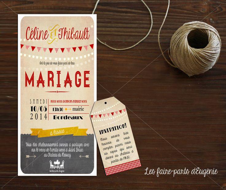 Faire part mariage th me bistrot ardoise les faire parts d 39 eug nie id es faire parts - Idee menu invitation amis ...