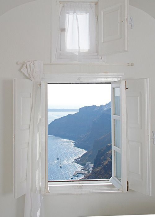 Greece, window view, sea, mountains, light