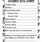 Use this student information sheet for the beginning of the year.  Have parents fill it out during Meet the Teacher night or during the first week ...