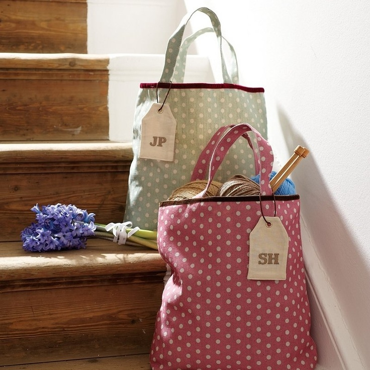 polka dot bags, perfect for storing stuff!.... Inspiration but these bags are a great shap and depth for a craft bag ........ no?