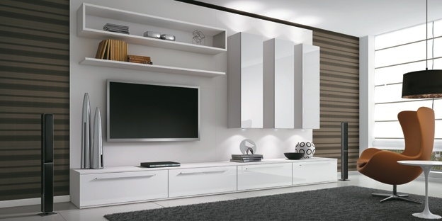 Wall, colors, Chair, entertainment storage, pendant, windows
