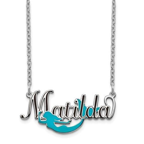 6930961aa Personalized Epoxied Sterling Silver Mermaid Name Necklace – Sparkle & Jade