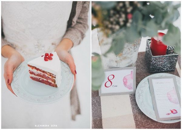 Оформление свадьбы зимой — гранатовая история