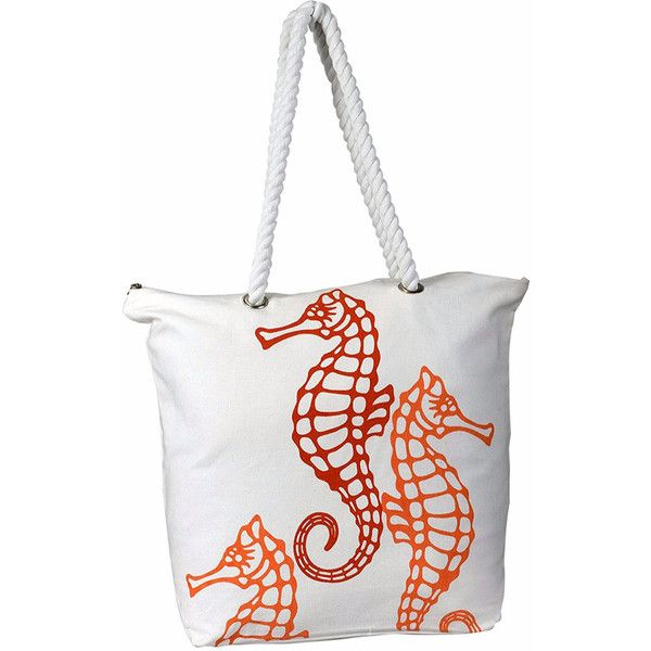 Women's Peach Couture Canvas Designer Beach HandbagSeahorse ($17) ❤ liked on Polyvore featuring bags, handbags, tote bags, orange, canvas beach tote bags, orange tote bag, orange tote, white purse and white canvas tote
