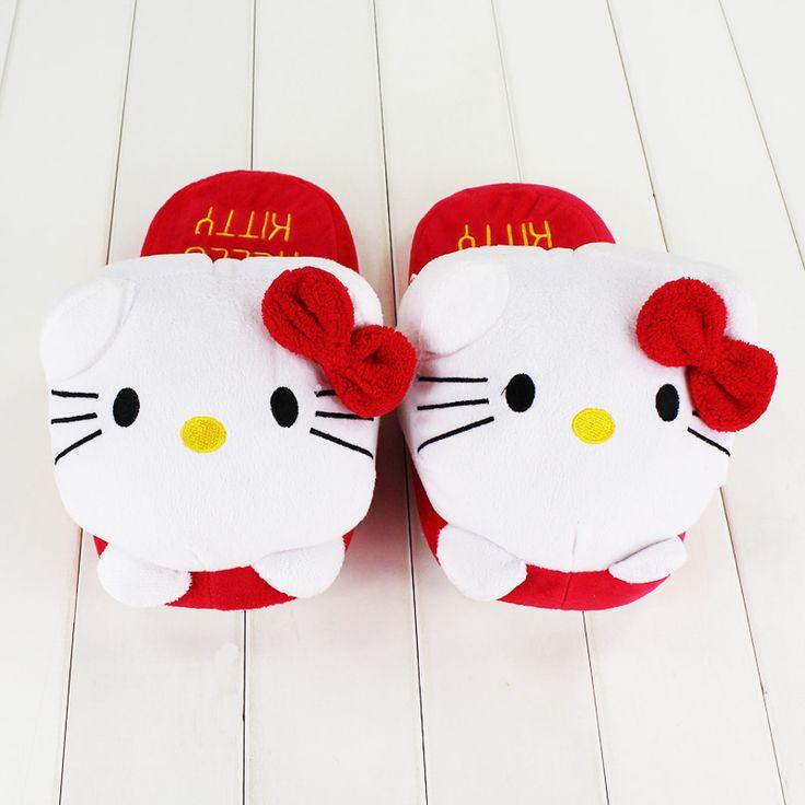 Hello Kitty Slippers //Price: $20.99 & FREE Shipping // World of Hello Kitty http://worldofhellokitty.com/27cm-women-girls-winter-indoor-slippers-anime-cute-bowknot-hello-kitty-warm-soft-plush-slippers-free-shipping/    #toys