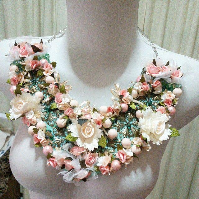 Up for sale. :) Bahan: kain,  kristal cina, mote plastik, logam, rantai.  #necklace #kalung #aksesoris #perhiasan