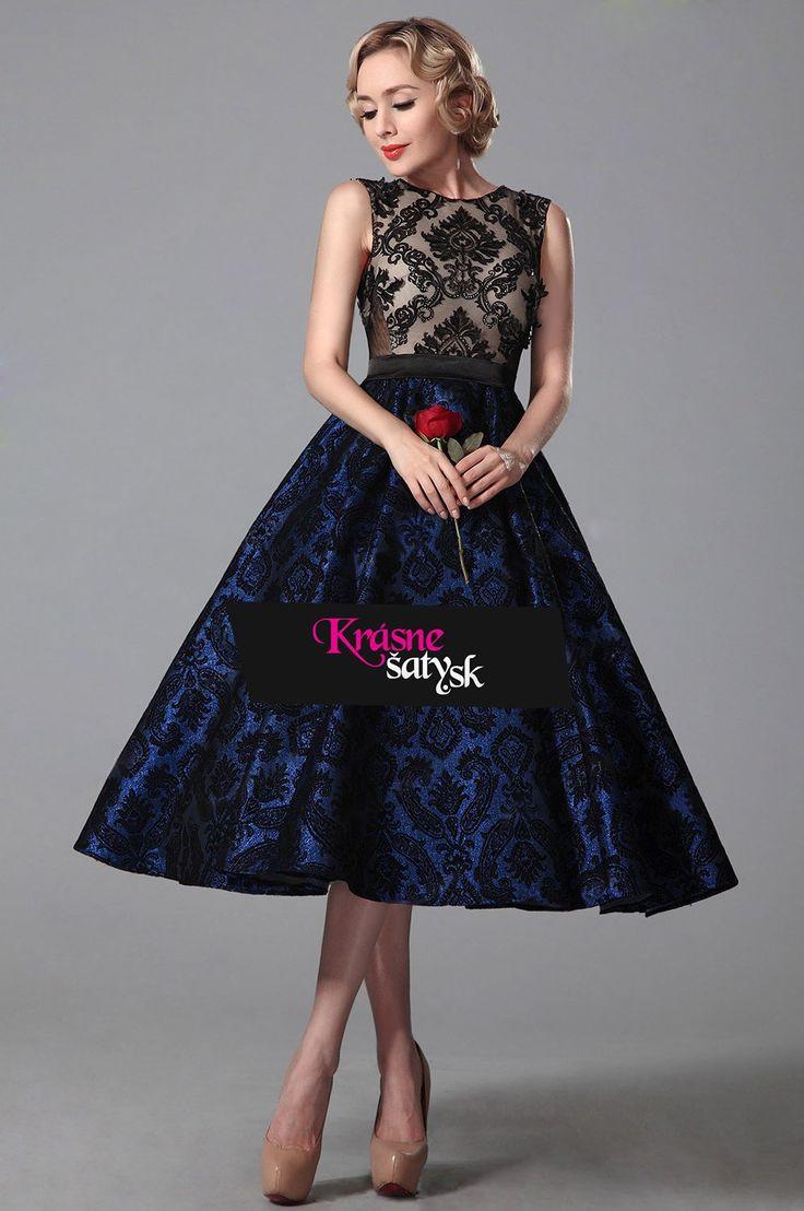 Modro-čierne retro šaty S00708 - 5. náhľadová fotka
