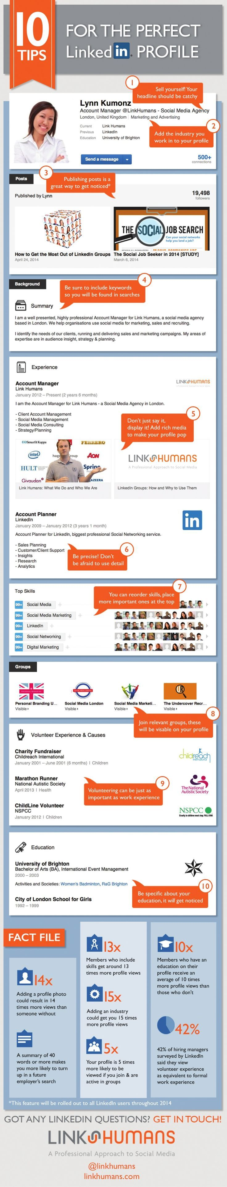 LinkedIn Infografik | Tipps für Dein LinkedIn Profil | Tips for the Perfect LinkedIn Profile career infographic