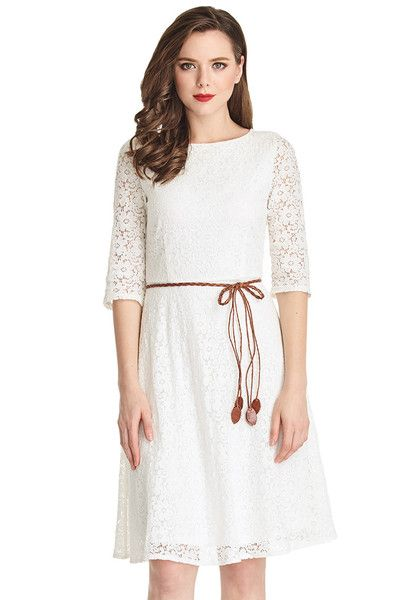What's New // With this pure white lace crop sleeves A-line dress, you can look ethereal for any occasion.